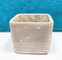Cache Pot Ciment Carré 9,5x9,5 H8,5 Gris