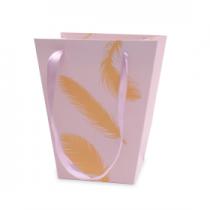 Sac Carton Golden Feathers 17x13 H20 Lilas x 10
