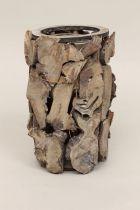 Vase Bois Slice D13 H23 Marron + Verrerie