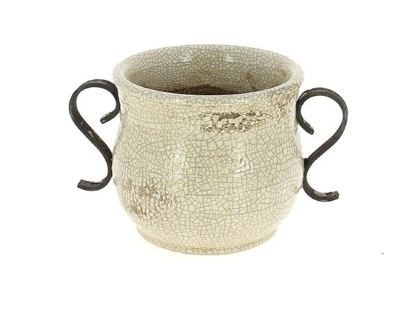 Cache Pot Céramique Rustic D13 H14 Blanc