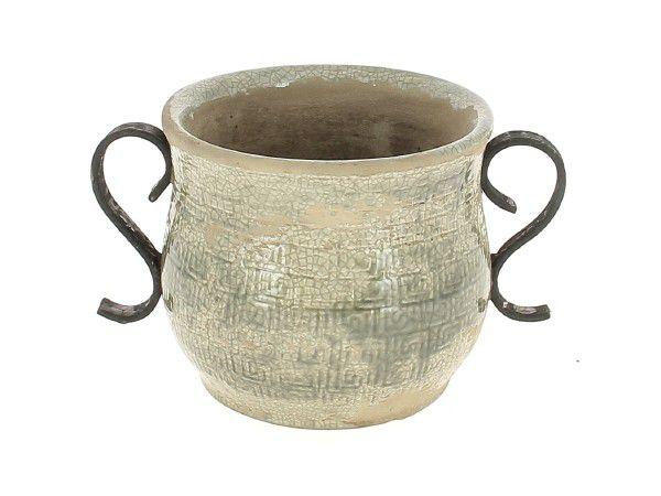 Cache Pot Céramique Rustic D13 H14 Gris