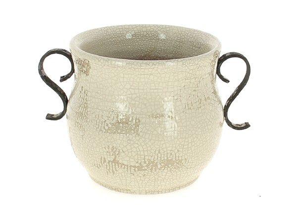 Cache Pot Céramique Rustic D15 H17 Blanc