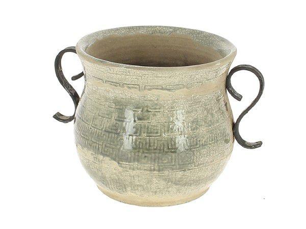 Cache Pot Céramique Rustic D15 H17 Gris