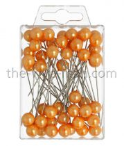 Epingle Tête Perle 10mm Orange x 50