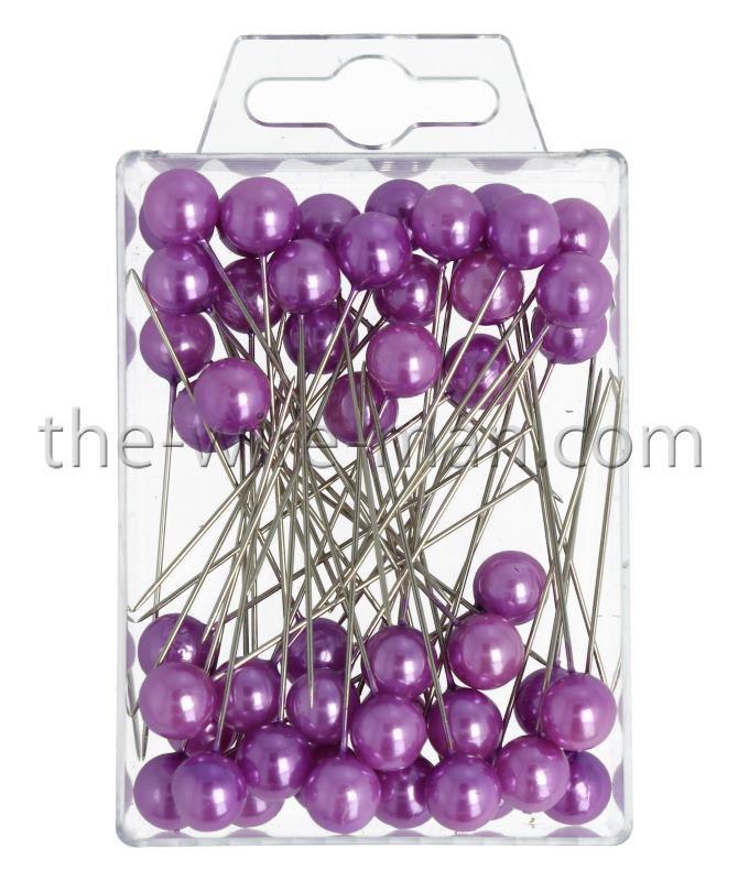 Epingle Tête Perle 10mm Violet x 50