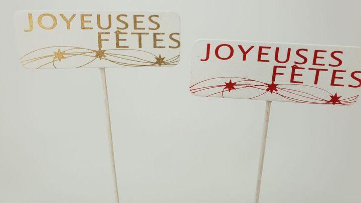 """Pic Bois \""""Joyeuses Fêtes\"""" 8,5x3 sur Pic 24cm ass ( x 12 )"""