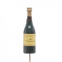 Pic Bouteille Champagne 11cm Vert sur pic 50cm