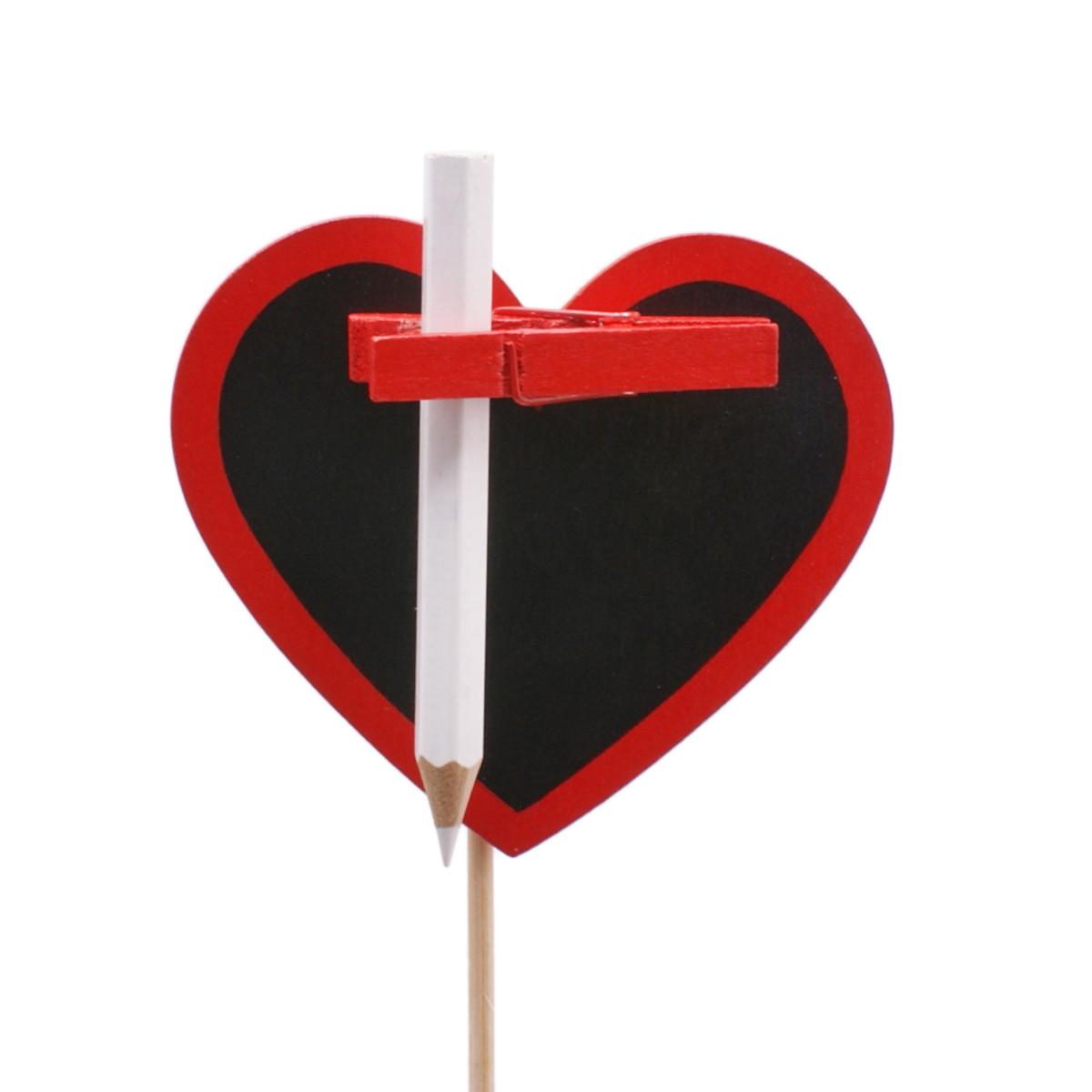 Pic Coeur Ardoise 8,5cm Rouge sur pic 50cm