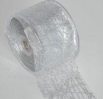 Ruban Glitter Organza 63mm x 10m Argent