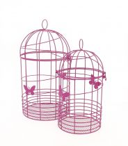 Set de 2 Cages Oiseaux Zinc Fushia