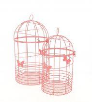 Set de 2 Cages Oiseaux Zinc Rose Foncé