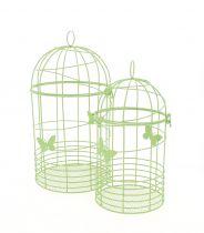 Set de 2 Cages Oiseaux Zinc Vert Anis