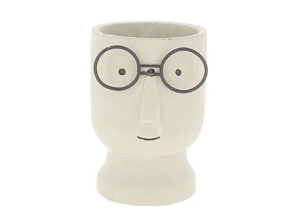Vase Ciment Tête à Lunette D15 H22 Blanc