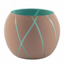 Vase Verre Boule Ortensia D11,5 H13,5 Taupe/Turquoise