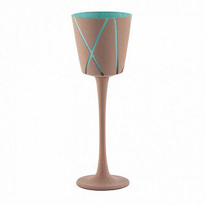 Vase Verre Ortensia D11,5 H10/26 Taupe/Turquoise sur pied
